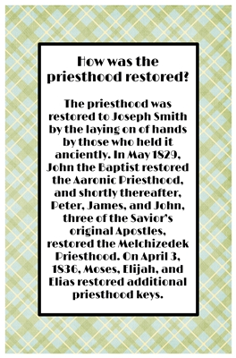 How was the priesthood restored sm