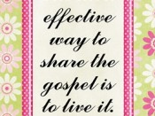 The most effective way to share the gospel is to live it.  -Sheri Dew