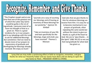 August 2013 Home Teaching Handout-Recognize, Remember, and Give Thanks