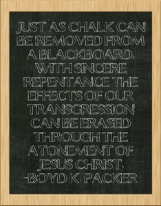 Just as chalk can be removed from a blackboard -Boyd K. Packer