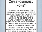How can I prepare to establish a Christ-centered home?