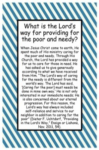 What is the Lord's way for providing for the poor and needy?