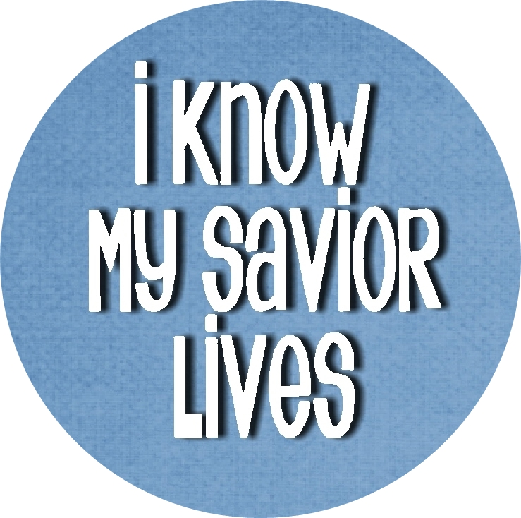 I Know My Savior Lives Bottle cap insets blue rd