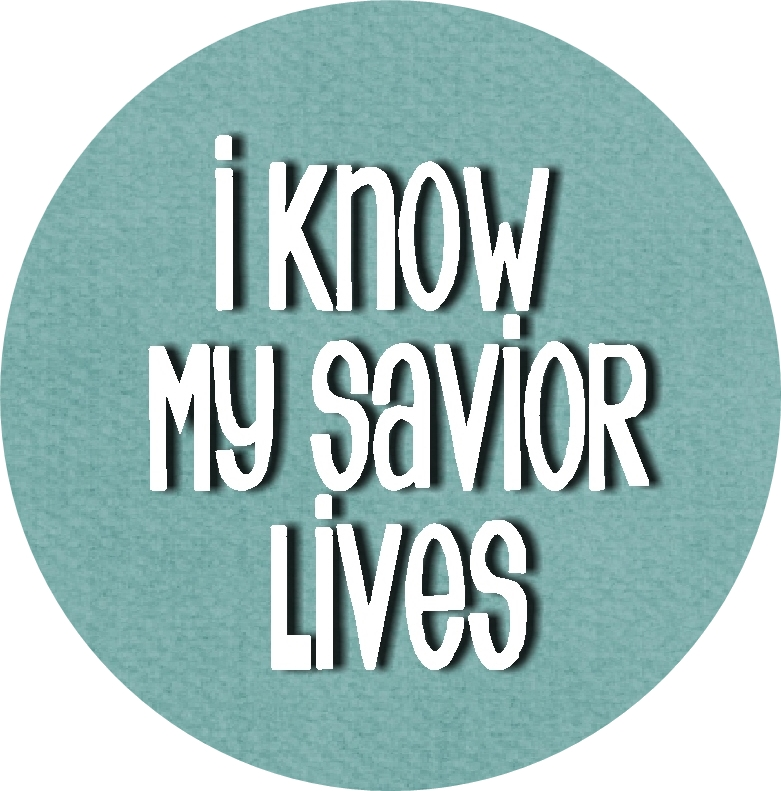 I Know My Savior Lives Bottle cap insets teal 2 RD