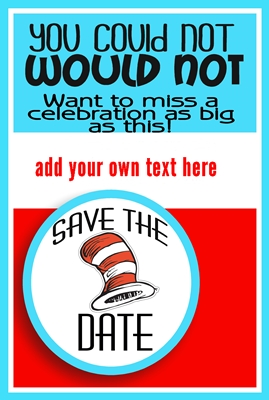 Save the Date Dr Suess Card preview