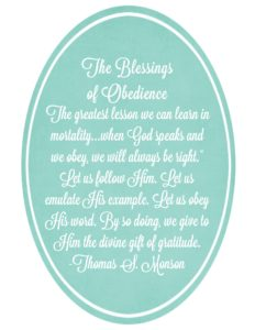 October HT Handout The Blessings of Obedience