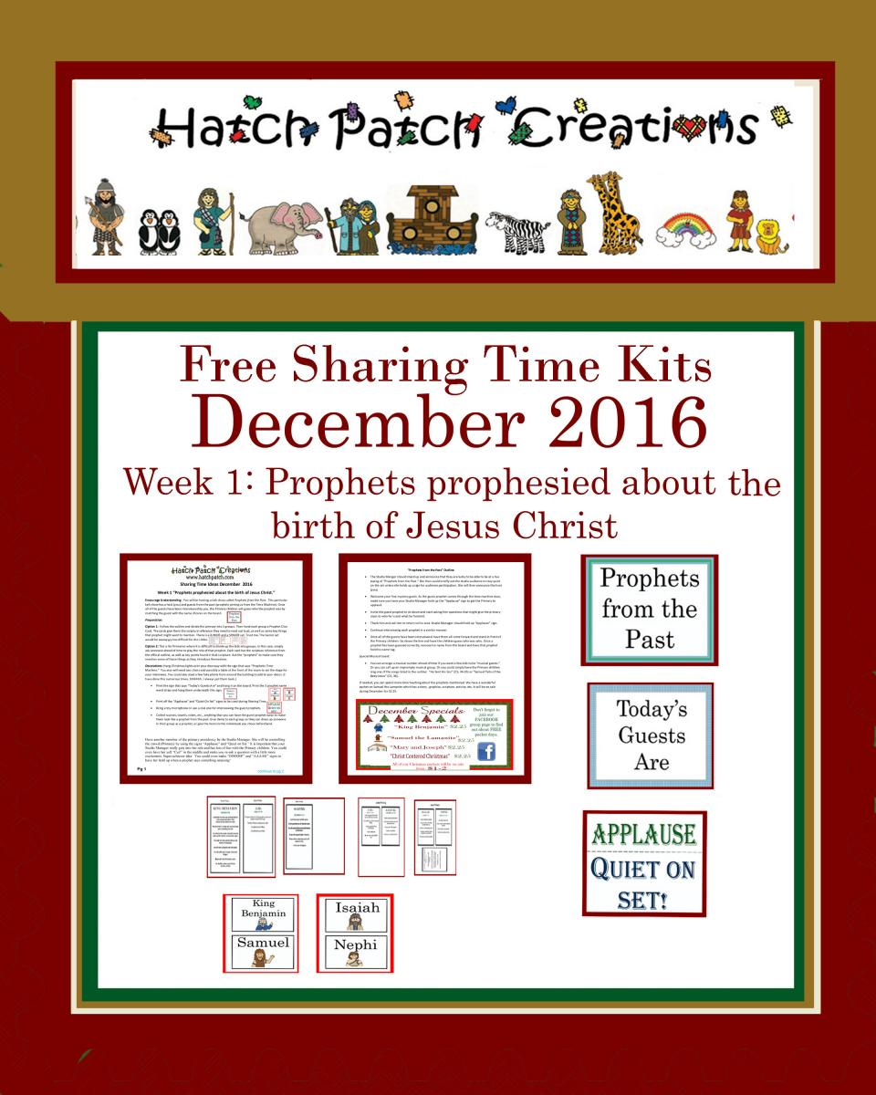 December 2016 Sharing Time Ideas