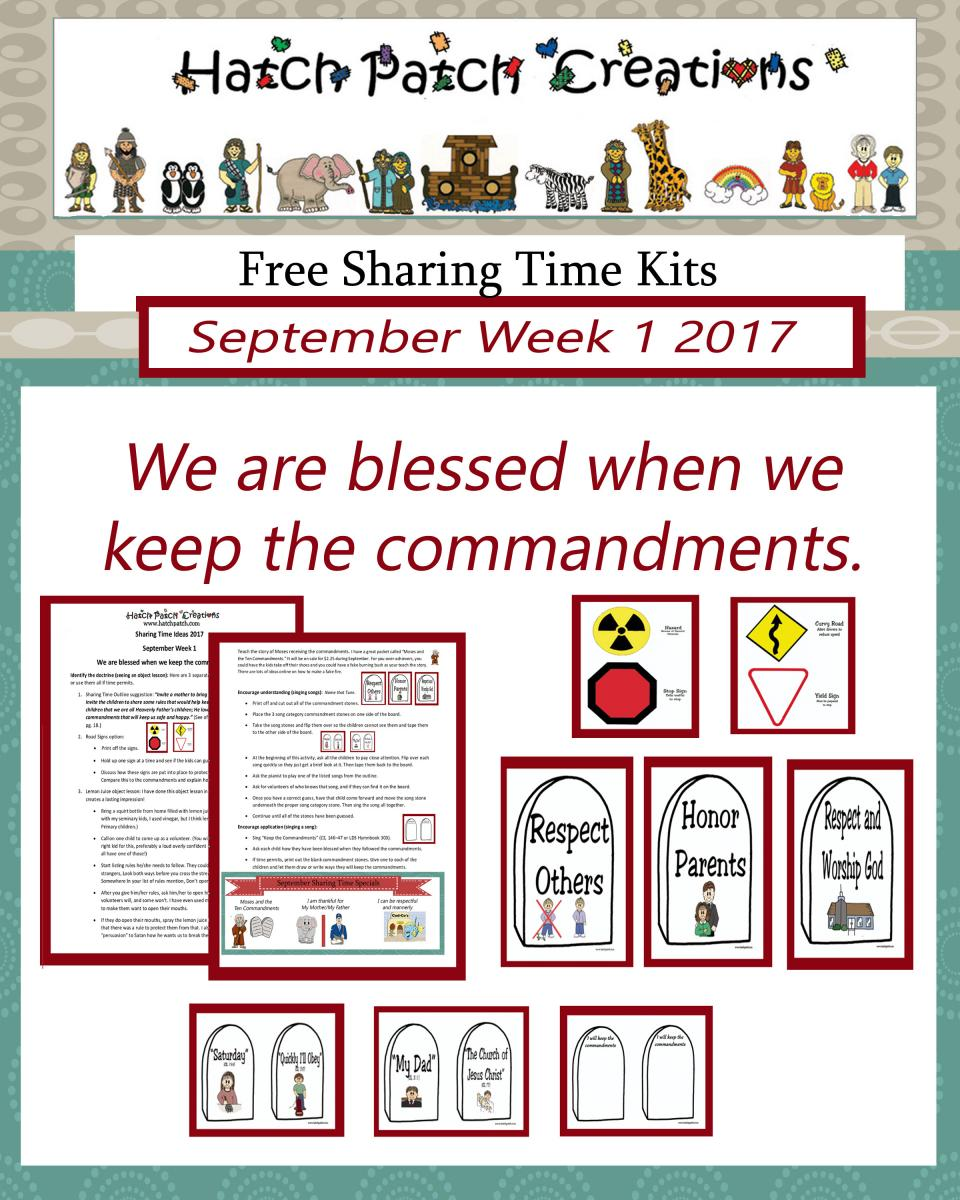 09 September 2017 Sharing Time Ideas -The Ten Commandments ...