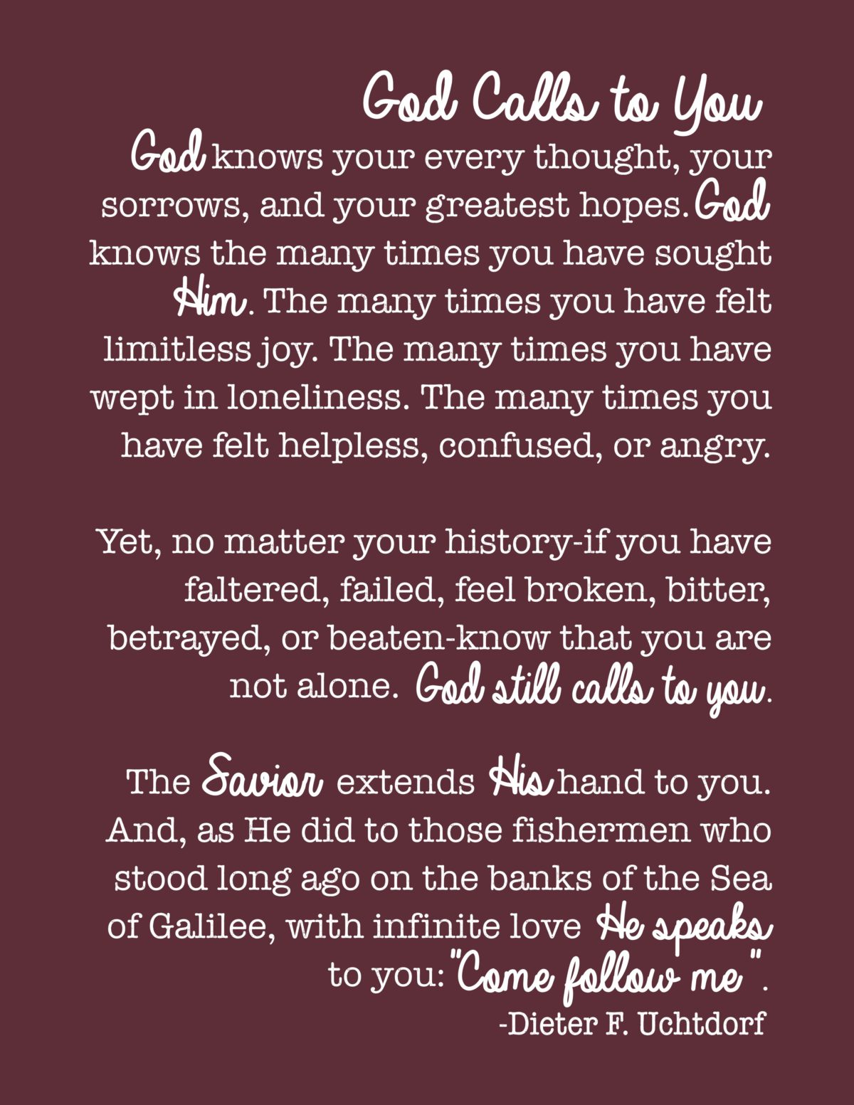 God Calls to You…quote