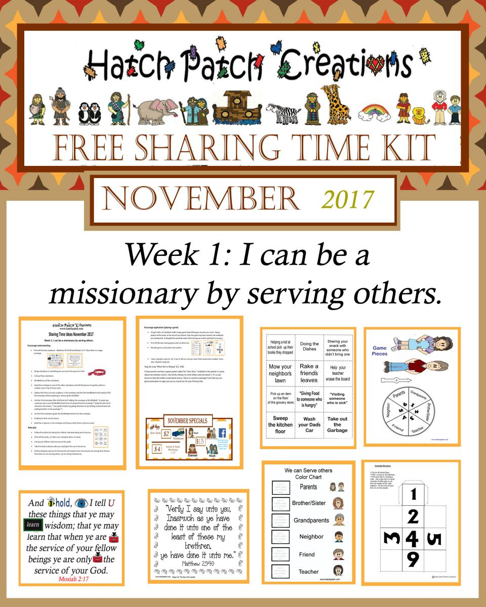 11 – November 2017 Sharing Time: I Can Choose to Be a Missionary Now
